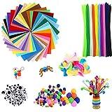 AKKlenz 640 Stück Bastelset Kinder Pfeifenreiniger Pluesch Bunte Mini Pompons 40 Farben Bastelfilz Filz Bastelfedern für Kinder DIY Handwerk