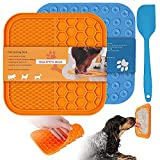 Leckmatte Hund, 2 Pack Lick Mat Dog with Spatula for Dogs and Cats, Lick Pad Slow Feeder with Super Strong Suction Power, Leckmatte Pets zum Baden, Pflegen und Hundetraining (15 * 15CM)
