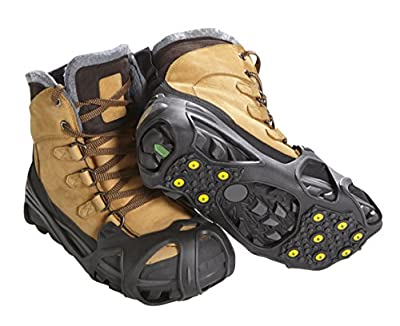 ICETRAX Pro Tungsten Grip Winter Ice Cleats for Shoes and Boots - Ice Grips for Snow and Ice, StayON Toe, Reflective Heel (L/XL (Men: 9.5-13 / Women: 11+))