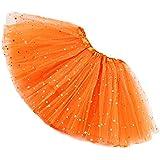 Rysly Girls Sparkle Tutus Princess Ballet Dance Layered Tulle Tutu Skirts,2-8T Orange