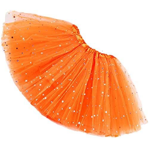 Reciy Sparkle - Falda de tul para niña, tutú de capas, diseño de princesa, para bailar ballet, talla 2-8 años naranja Talla única