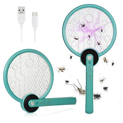 XiYee Fly Swatter Killer en racket, oplaadbaar, muggennet, muggenbescherming, voor insecten, USB-oplaadbaar, met led, drievoudige laag van net voor binnen en buiten