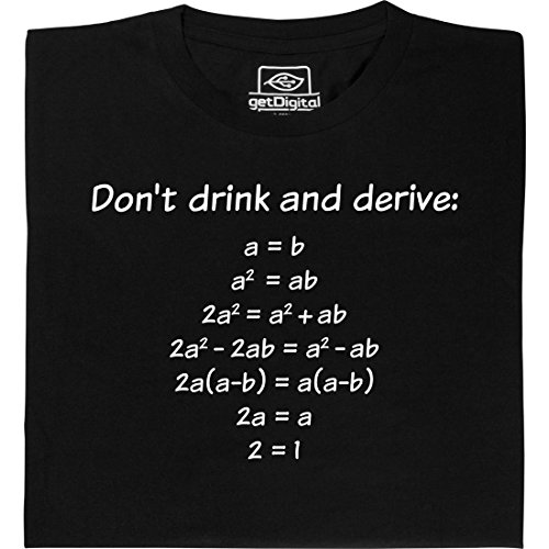 Drink and Derive - Geek Shirt für Computerfreaks aus fair gehandelter Bio-Baumwolle, Größe M