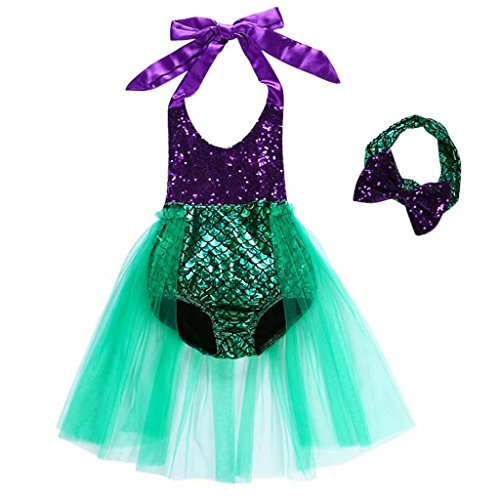 Baby Girls One Piece Sequins Swimsuit Mermaid Bikini Dress+Headband Green
