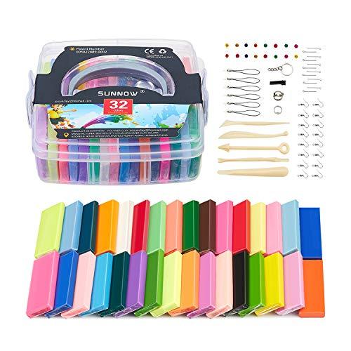 Polymer Clay Set - 32 Farben 800g/1.8LB Polymer Ton Ofen Backen Lehm Figur DIY Basteln & Modellierung Lehm,Geschenke für Kinder/Spielzeuge für Kinder (Mehrfarbig)