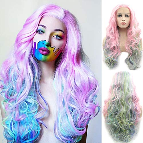 HEAHAIR Colorful Rainbow Synthetic Lace Front Wigs for Women Party HS2021