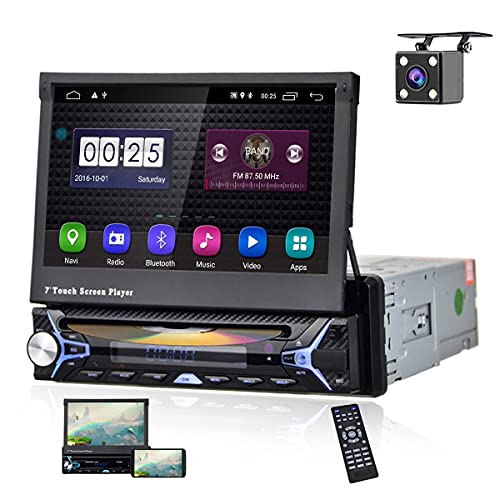 Car Stereo Single Din Android Car Radio with DVD Player Bluetooth WiFi FM/AM Radio GPS Navigation 7'' Flip-Out Touch Screen in Dash Head Unit AUX-in USB MirrorLink Car Multimedia Player Backup Camera