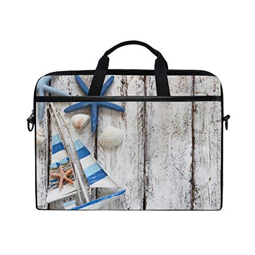 ISAOA Seastar On Wood Boot Laptop-Tasche, leichte Schultertasche Laptop Messenger Bag Sleeve für 14-15,6 Zoll Notebook Computer Tasche für Reisen/Business/Schule
