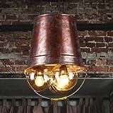 Yjdr Chandelier de cubo de hierro forjado creativo personalizado, estilo industrial restaurante americano, bar, pasillo, escalera, luz decorativa de corredor, altura ajustable, soporte de lámpara E27