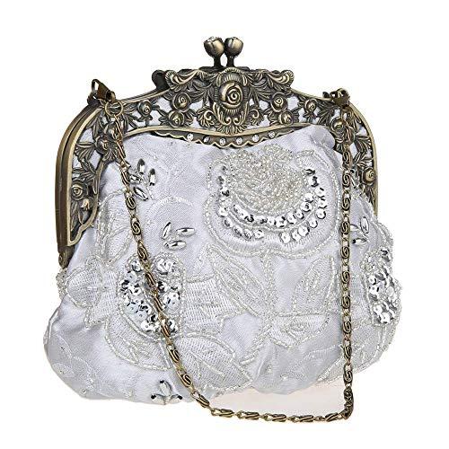 DA BODAN Vintage Clutch Floral Perlen Stickerei Clutch Pailletten Hochzeit Party Prom Bag Bridal Damen Crossbody Abend Handtasche (Silber)