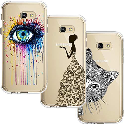 [3 Pack] Estuche Samsung Galaxy A5 2017, Blossom01 Estuche Protector de Silicona Ultra Thin Soft TPU con Dibujos Animados Lindo para Samsung Galaxy A5 2017 - Eye & Butterfly Girl & Cat