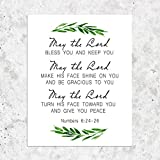 Numbers 6:24-26 May the Lord Bless You and Keep You Scripture Art Greenery Bible Verse Wall Art Bible Verse Prints 8 x 10 Inches Shimmer Art Paper Unframed
