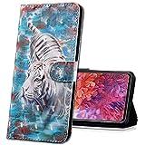 MRSTER Nokia 7.2 Handytasche, Leder Schutzhülle Brieftasche Hülle Flip Hülle 3D Muster Cover mit Kartenfach Magnet Tasche Handyhüllen für Nokia 6.2 / Nokia 7.2. BX 3D - White Tiger