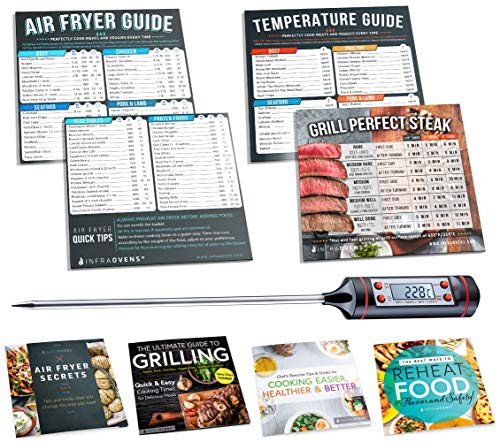 Air Fryer Cook Times Cheat Sheet Magnet Accessories | Airfryer Cookbooks, Magnetic Temperature Cooking Guide Chart for Quick Reference + Food Thermometer for Kitchen Cooking, Baking & Grilling