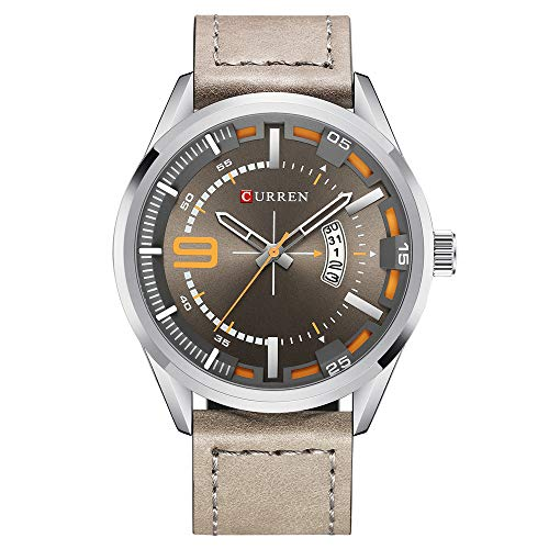 Men Quartz-Analog Watches Military Sport Wristwatch Waterproof Leather Band The Best Gift for Men (Silver Grey)