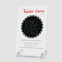 Gifteee Truly Personlised Sky Star Map Plaque | Custom Skymap Plaque | Stand : Acrylic | Size (6 X 9) Inches (Acrylic Stand)