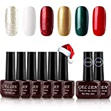 Gellen Gel Nail Polish Kit 6 Colors With Top Coat Base Coat - Christmas Colors Nail Gel Collection Home Gel Manicure Set