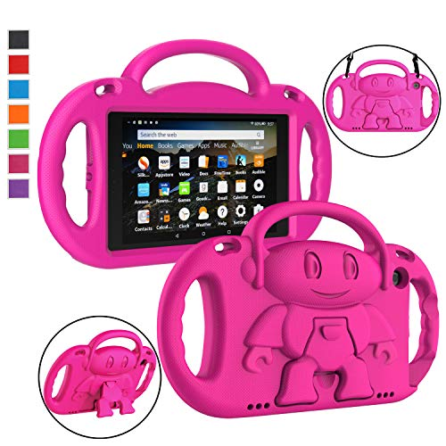LTROP Fire HD 8 Tablet Case, Fire 8 2018 Case for Kids - Shock Proof Handle Friendly Stand Child-Proof Case for Fire 8