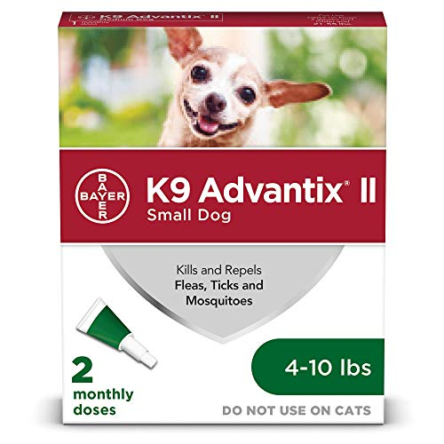 Bayer K9 Advantix II Flea, Tick and Mosquito Prevention for Small Dogs, 4 - 10 lb, 2 doses