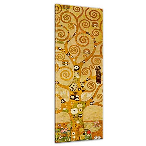 Wandbild Gustav Klimt Lebensbaum - 30x90cm hochkant - Alte Meister Berühmte Gemälde Leinwandbild Kunstdruck Bild auf Leinwand