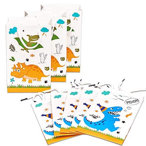 WERNNSAI Dinosaurier-Geschenktüte - 16 Pack Papier Party Taschen für Kinder Jungen Geburtstag BabyduschePartyzubehör Favor Treat Goodie Taschen mit Griff