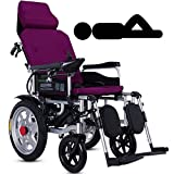 Heavy Duty Electric Wheelchair With Headrest,foldable Folding And Lightweight Portable Powerchair With Seat Belt,electric Power Or Manual Manipulation,adjustable Backrest And Pedal,joystick,Purple