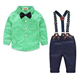 Summer Baby Boys Clothes Set Gentleman Bowtie Shirt+Suspenders Pants Set Green