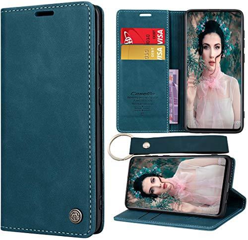 CaseNN Funda para Samsung Galaxy A71 4G Carcasa con Tarjetero Fundas Tapa Libro Libro de Cuero PU para Mujeres Hombres Premium Magnético con Llavero Suporte Silicona Proteccion Delgado - Azul-Verde