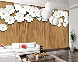 Papel Tapiz Personalizado Textura De Madera Arte De Origami Flores Blancas Tv Sofá Fondo Sala De Estar Dormitorio Fondo Papel Tapiz 3D,200 * 140Cm