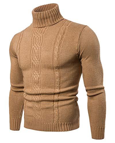 Maglione da Uomo Inverno Caldo Jacquard Dolcevita Slim Fit Maglia Collo Alto Maglieria