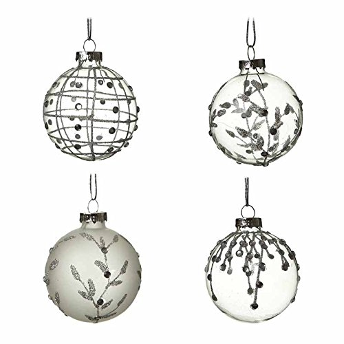 SET OF 4 GLASS BAUBLES - CLEAR & FROSTED