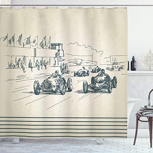 ABAKUHAUS Oldtimer Duschvorhang, Racing Cars Sketchy, Wasser Blickdicht inkl.12 Ringe Langhaltig Bakterie & Schimmel Resistent, 175 x 180 cm, Beige Teal