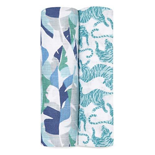 aden + anais - 2 Maxi-langes grand format prélavés en mousseline 100% coton – Imprimé Dancing Tigers - 120 cm x 120 cm