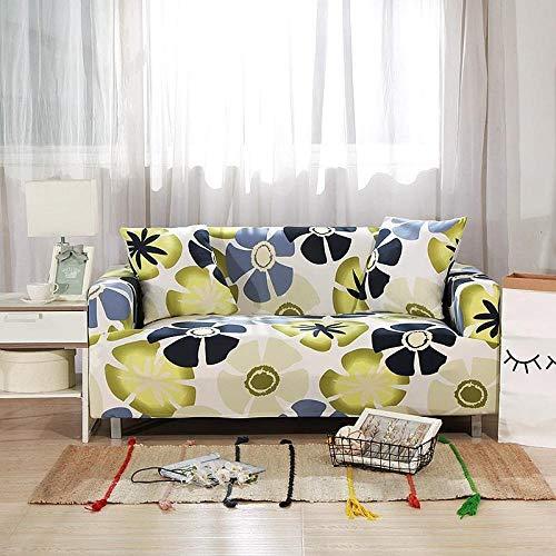 Funda de sofá de 2 Plazas Funda Elástica para Sofá Poliéster Suave Sofá Funda sofá Antideslizante Protector Cubierta de Muebles Elástica Patrón Floral Verde Funda de sofá