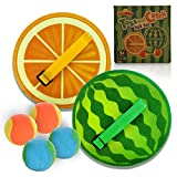 Demilong Toss and Catch Game Set, Paddle Ball Game Set with 4 Balls and Watermelon and Orange Rackets, Suitable for Sports & Beach & Party, Perfect Outdoor Games Toys Gift for Kids and Adults