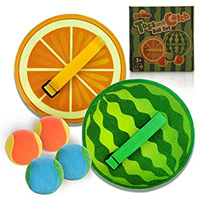 Amazon - 70% Off on Toss and Catch Game Set, Paddle Ball Game Set with 4 Balls and Watermelon and Orange Rackets