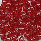 Heart Beads Red Glitter Sparkle Large Pony Beads Pk/50 Made in USA