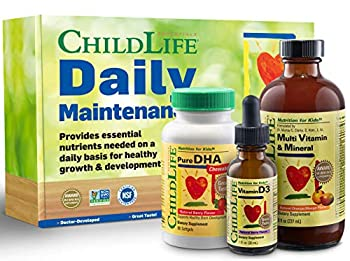 ChildLife Daily Maintenance Kit | Vitamin Supplement for Infants Baby Toddlers Kids and Teens Contains Liquid Multivitamin Minerals DHA Vitamin D C B 12 Magnesium Folic Acid