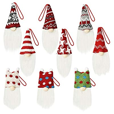 YZHI Christmas Tree Decorations Gnomes Set of 9, Christmas Ornaments 2020 Xmas Tree Gifts Christmas Decor Indoor Decorative Hanging Ornaments (Multi-Color)