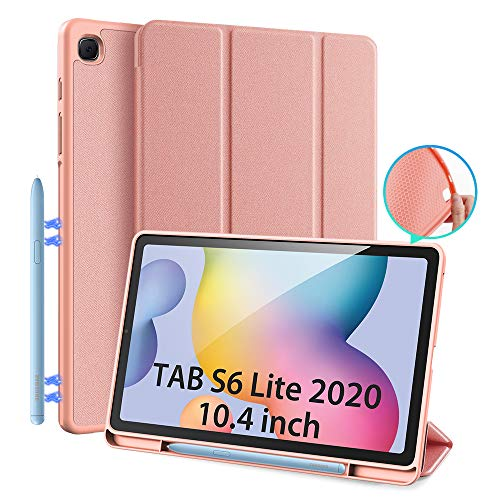 Case for Samsung Galaxy Tab S6 Lite 10.4 (P610/P615) 2020, DUX DUCIS Slim Magnetic Soft TPU Protect Case with S Pen Holder for Tab S6 Lite 10.4 inch, Multi-angle Front Support Cover (Pink)