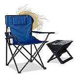 Relaxdays Campingstuhl, Rückenlehne, Armlehnen, Getränkehalter, Polster, Tragetasche, H x B x T:...