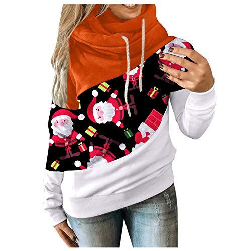 Sudaderas con Capucha de Mujer-Tops- Sudadera navideña Estampada de Manga Larga con cordón Tops túnicas...