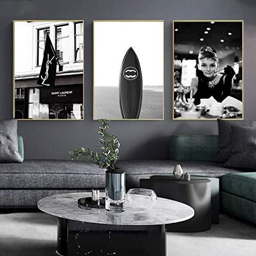 HUANGXLL Cartel Retro en Blanco y Negro Fumar Hepburn Impresión de Lienzo Cuadro de Tabla de Surf Pared de la Sala de Estar Decoración del hogar Pintura de Arte moderno-40x60cmx3Pcs-Sin Marco