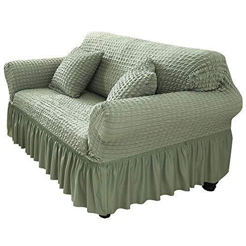 YAOYI Funda elástica para sofá con falda, 1/2/3/4 plazas Seersucker cubierta completa de sofá funda protectora, tela de poliéster y elastano (2 plazas, verde)