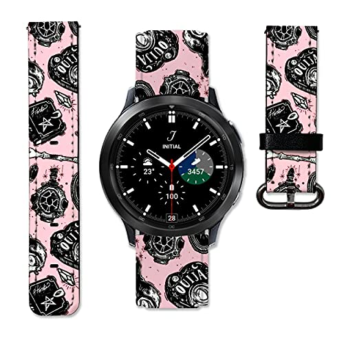 Witch Halloween Leather Strap compatible with Samsung Galaxy Watch4 Active 2 40mm 44mm Galaxy Watch4 Classic Active 2 42mm 46mm Galaxy Watch 3 Active 2 40mm 41mm 42mm 45mm 46mm Gear S3 S2 and other watches 20 and 22mm wristband straps leather bands 09 (22 mm)