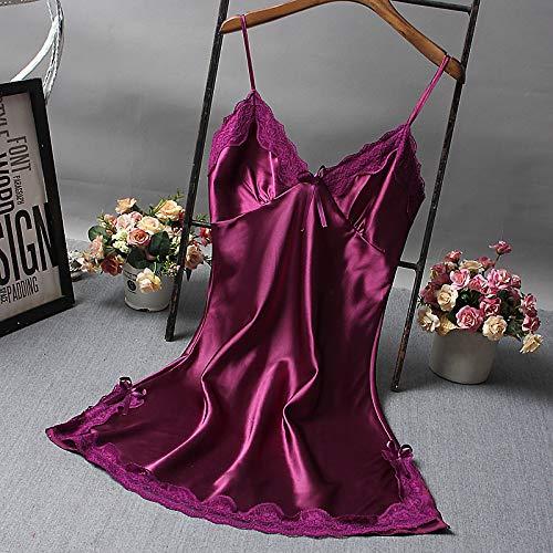 Handaxian Pyjamas Simulation Silk Lady große Nachthemd Seide V-Ausschnitt Home Service