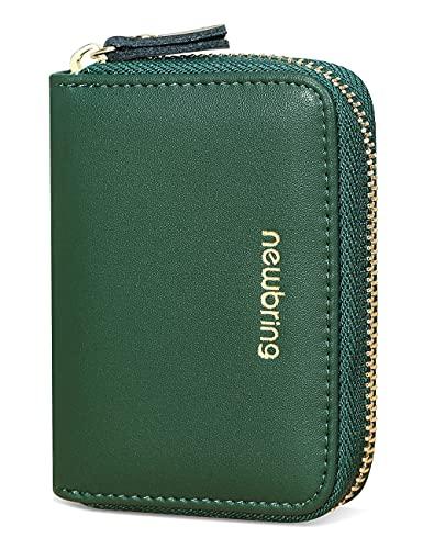 New-Bring Portatarjetas de Escritorio Billetera para Mujer Y Hombre Cartera de Piel para Mujer / Billetera para Dama / Bloqueo RFID con Gran Capacidad para Tarjetas, billetes y monedas (Verde (18 ranuras para tarjetas))