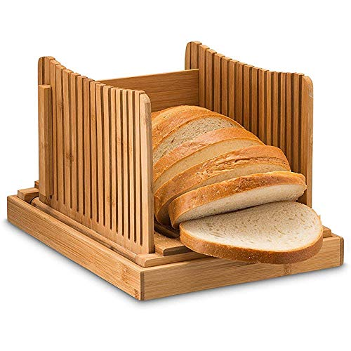 ZZFF Bamboo Bread Slicer Guide,Natural Wood Toast Loaf Cutting Guide,Compact Foldable Bread Cutter Guide Crumb Catcher For Homemade Bread Slicing Tool-Wood 32x22x13cm(13x9x5inch)