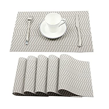 Homcomoda Placemats Washable PVC Dining Table Mats Heat Resistant Sustainable Woven Vinyl Place Mats for Kitchen Table Set of 6(Grey)