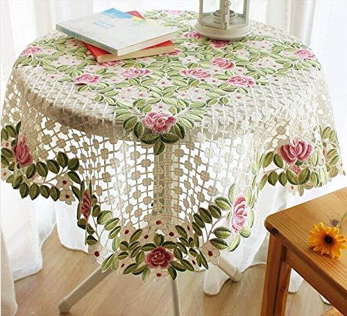 NOLOGO HHTC Mantel Bordado de la Boda, Redondo Crochet y Bordado Mantel Rectangular Mantel, Cubierta Elegante Piano, romántica Cubierta de Tabla Bordado,